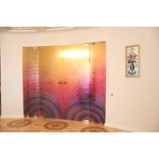 Декоративные стеклянные двери по технологии фьюзинг